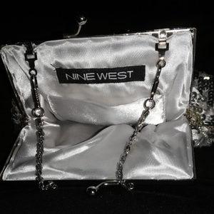 Silver Satin Sequined Evening Bag Nine West